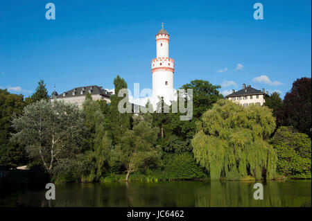 empty donjon, castle, Bad Homburg, Hessen Germany, freistehender Bergfried, Schloss, Hessen Deutschland - Stock Photo