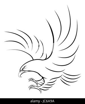 Stylised eagle illustration of an eagle swooping in for the kill - Stock Photo