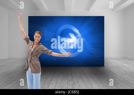 Composite image of happy woman jumping in the air - Stock Photo
