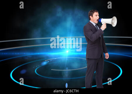 Composite image of standing businessman shouting through a megaphone agaisnt white - Stock Photo