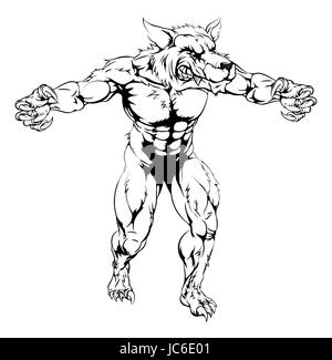 An illustration of a Werewolf wolf scary sports mascot with claws out - Stock Photo