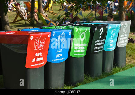 Waste recycling bins at Hay Festival 2017 Hay-on-Wye Powys Wales UK - Stock Photo