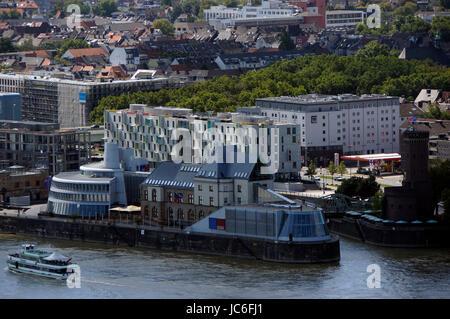 Blick vom Cologne Triangle auf das Schokoladenmuseum, Köln, Nordrhein-Westfalen, Deutschland - Stock Photo