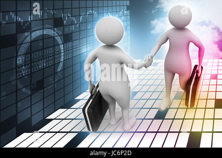 Two business people communicate together - Stock Photo