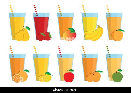 Set of fresh fruit juices and cocktails, fruit smoothie collection isolated on white background, pear, strawberry, - Stock Photo
