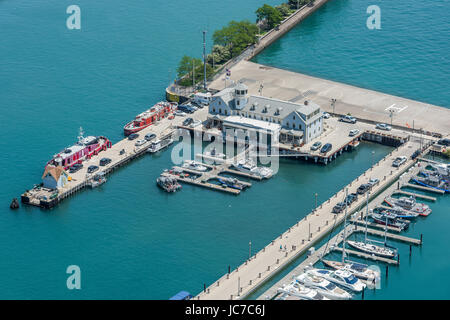 Aerial detail of Chicago Marine Safety Station - Stock Photo