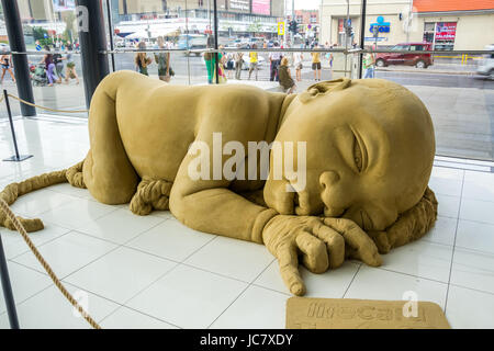 NITRA, SLOVAKIA - JULY 30, 2014 - Exhibition of Sand Sculptures in Shopping Center Mlyny on July 30, 2014 in Nitra, - Stock Photo