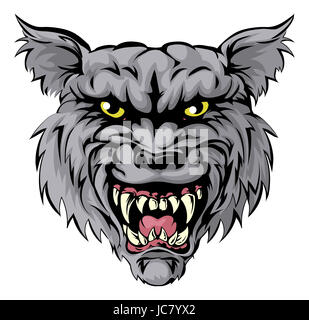 An illustration of a fierce wolf animal character or sports mascot - Stock Photo