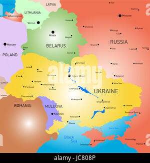 Vector color map of Belarus and Ukraine country - Stock Photo