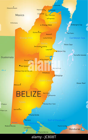 Vector map of Belize with the capital and cities - Stock Photo