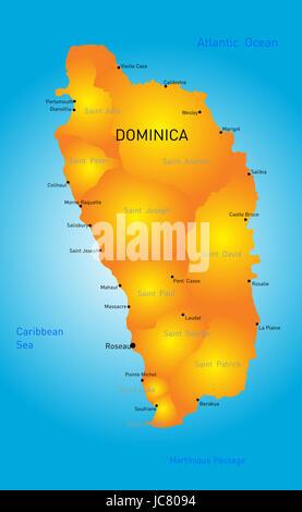 Map Of Dominica Island Caribbean Sea Stock Vector Art - Map of dominica caribbean sea