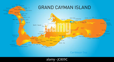 Grand Cayman islands vector map - Stock Photo