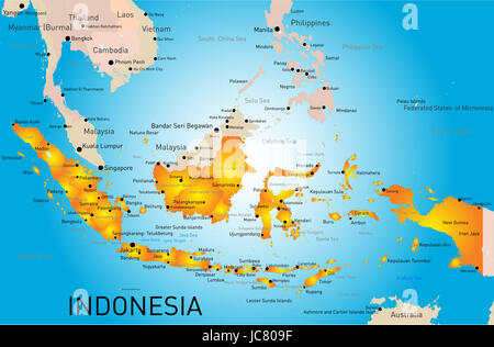 Indonesia country vector color map - Stock Photo