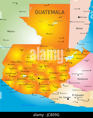 Guatemala country vector color map - Stock Photo