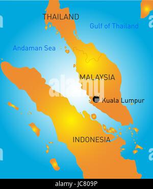 Kuala Lumpur vector color map - Stock Photo