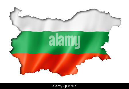 Bulgaria flag map, three dimensional render, isolated on white - Stock Photo