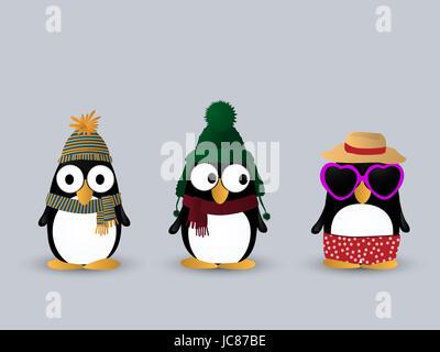 Cute little penguin cartoon characters - Stock Photo