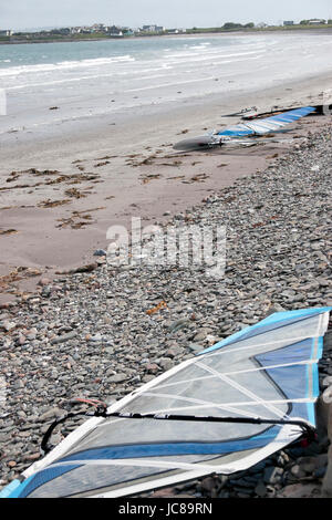 windsurfers surfboards on the beach in the maharees county kerry ireland - Stock Photo
