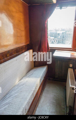 Interior of an old train wagon located in Museum Selcuk, Turkey.  This wagon was produced in Germany in 1926  for - Stock Photo