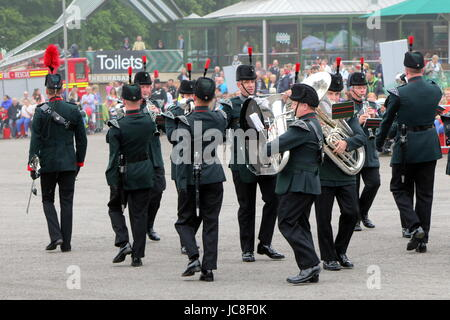 Beaulieu, Hampshire, UK - May 29 2017: Military Marching Band of the Winchester Rifles at the 2017 999 show at the - Stock Photo