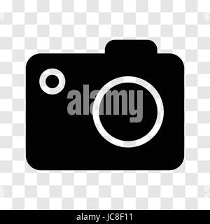 Camera icon, iconic symbol on transparency grid.  Vector Iconic Design. - Stock Photo