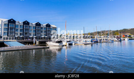 North Esk River marina in Tasmania. Traveling along the Tamar River Tasmania - Stock Photo
