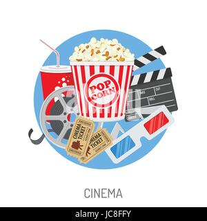 Cinema and Movie time concept with flat icons film reel, popcorn, paper cup, 3d glasses, clapperboard, cinema tickets. - Stock Photo
