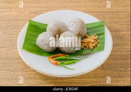 Thai Traditional Dessert, Tapioca Balls Made From Glutinous Rice Filled with Minced Pork and Sweet Pickled Daikon - Stock Photo