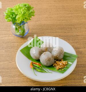 Thai Traditional Dessert, Thai Tapioca Balls Made From Glutinous Rice Filled with Minced Pork and Sweet Pickled - Stock Photo