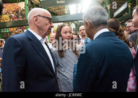 London, UK. 14th June, 2017. Rupert Murdoch at Borough Market as it re-opens to the public following the terrorist - Stock Photo