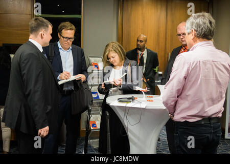London, UK. 14th June, 2017. Shareholders are interviewed by journalists at the main assembly of the airline in - Stock Photo