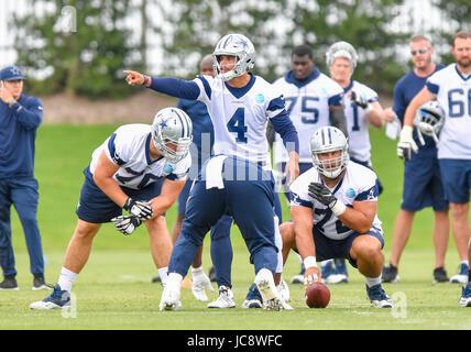June 14, 2017: Dallas Cowboys quarterback Dak Prescott #4 during an NFL mini-camp organized team activities at The - Stock Photo