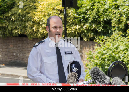 London, UK. 14th June, 2017. Commander Stuart Cundy breifing the pressGrenfell Tower fire in London. Credit: Andy - Stock Photo