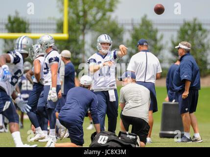 June 14, 2017: Dallas Cowboys quarterback Kellen Moore #17 practices during an NFL mini-camp organized team activities - Stock Photo