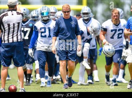 June 14, 2017: Dallas Cowboys head coach Jason Garrett during an NFL mini-camp organized team activities at The - Stock Photo