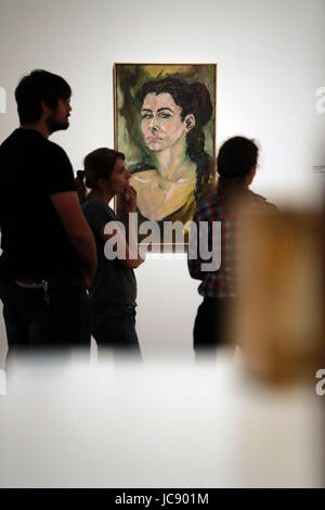 Frankfurt, Germany. 14th June, 2017. People visit the exhibition 'Carolee Schneemann. Kinetic Painting' at the Museum - Stock Photo