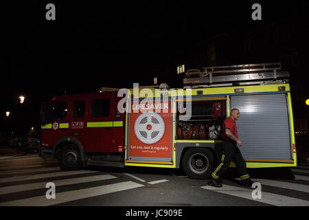 London, UK. 15th June, 2017. Fire appliances being prepared at around 2.30am. Credit: Mark Kerrison/Alamy Live News - Stock Photo