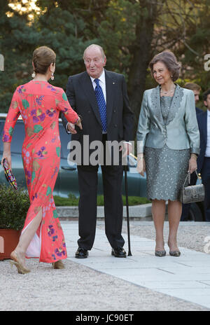 Emeritus King Juan Carlos I and Queen Sofia of Greece during tribute 'Dialogo' Asotietion in Madrid, Spain, Wednesday, - Stock Photo