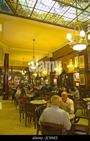 Cafe Tortoni, in May avenue, Buenos Aires, Argentina.  Café Tortoni is the oldest coffee most famous Buenos Aires. - Stock Photo