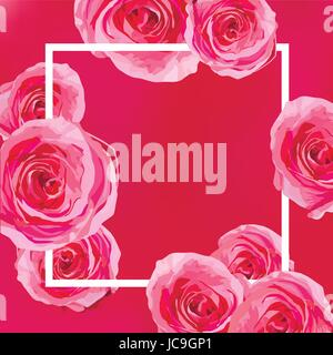 Flower bright flowers pink Rose, garden roses beautiful lovely spring, summer bouquet vector illustration. Top view - Stock Photo
