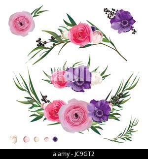 Ranunculus flower Rose Anemone Privet berry Eucalyptus branches, Thistle flowers and decorative plants big vector - Stock Photo