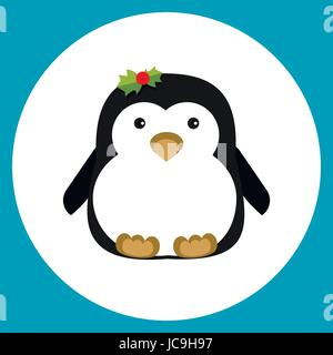 Penguin little cartoon animal cute Christmas xmas new year card postcard sign signboard flat icon design. Vector - Stock Photo