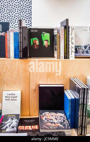 Venice,Castello,Giardini.57th Venice Biennale 2017,La Biennale di Venezia,bookshop with artist Candice Breitz book - Stock Photo