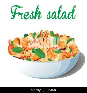 Pasta macaroni penne salad with seafood: shrimps or king prawns, mussels, bell pepper baby spinach,  balsamic in - Stock Photo