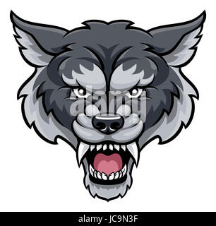 An angry wolf sports mascot animal character - Stock Photo