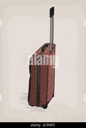 Bag travel traveling brown color valise wheels retro design stylish design line linear drawing.Vector closeup square - Stock Photo