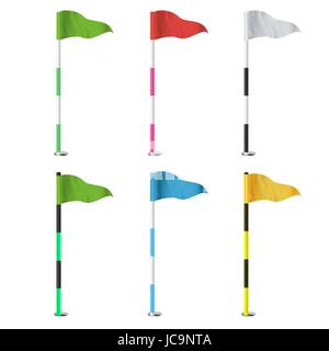 Golf Flags Vector. Realistic Flags Of The Golf Course. Isolated - Stock Photo