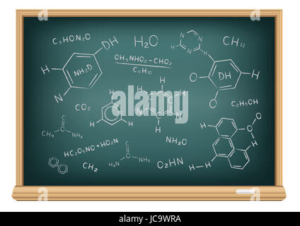 the school blackboard and chalk drawn chemical formula stock photo