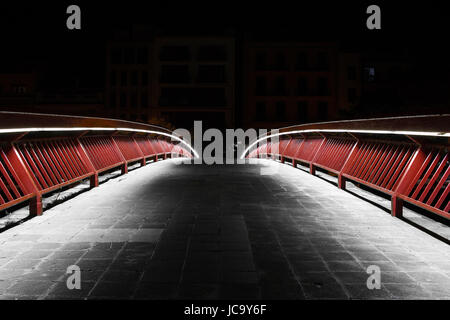 bridge night shot in Girona - Stock Photo