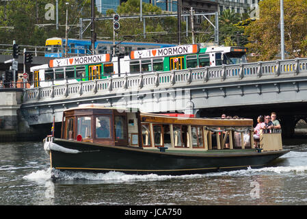 Train, Tram and boat transport seen from Yarra river, Melbourne, Victoria, Australia. - Stock Photo